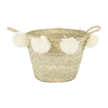 Bahia Pom Pom Magazine Holder - Cream