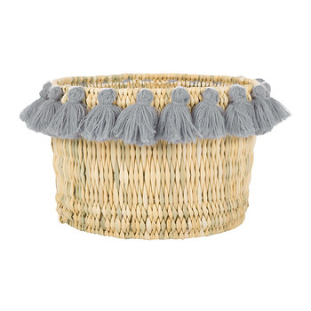 Fluorspar Bucket with Tassels - Gray