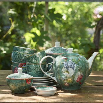 Spring To Life Cappuccino Cup & Saucer - Set of 2 - Green