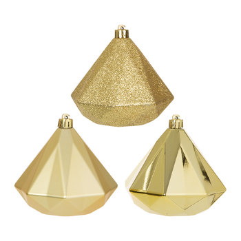 Geometric Diamond Baubles - Set of 3 - Light Gold