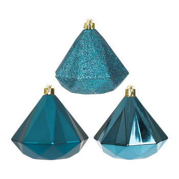 Geometric Diamond Baubles - Set of 3 - Petrol Blue