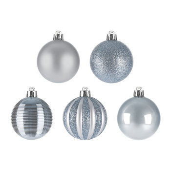 Tube of 30 Assorted Baubles - Ice Blue