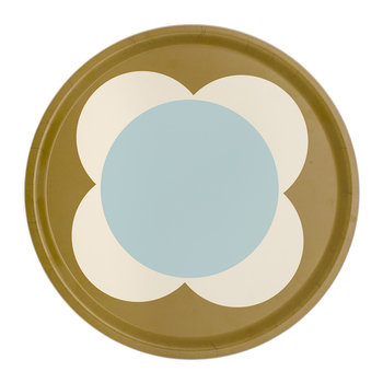 Large Spot Flower Round Tray - Duck Egg
