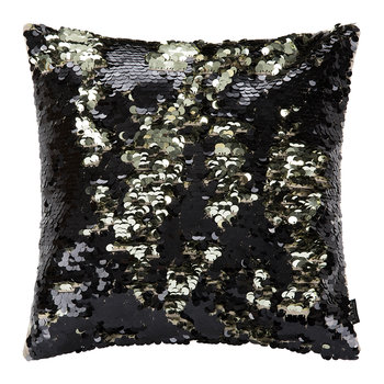 Changing Sequin Cushion - 40x40cm - Black/Gold