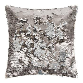 Changing Sequin Cushion - 40x40cm - Matt Grey/Silver