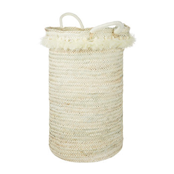 Fluorspar Laundry Basket with Tassels - Cream