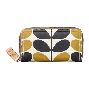 Stem Check Print Big Zip Wallet - Dandelion