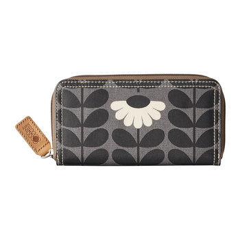 Wild Daisy Print Big Zip Wallet - Jet