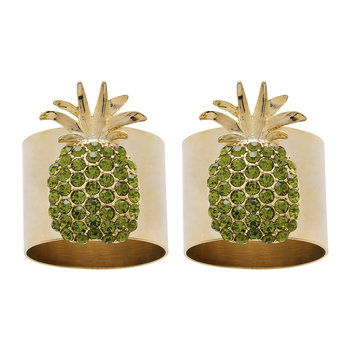 Pineapple Napkin Ring - Set of 2 - Green