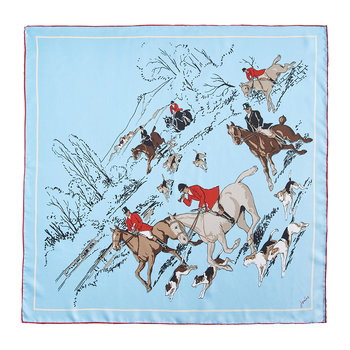 Bloomfield Silk Scarf - Duck Egg Hunt Scene