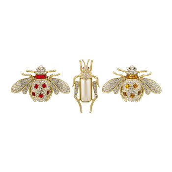 Jeweled Insect Clip - Set of 3