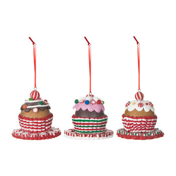 Christmas Cake Tree Decorations - Set of 3