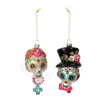 Day of the Dead Bride & Groom Tree Decorations - Set of 2