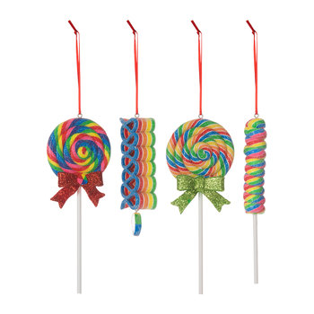 Glitter Lollipop Tree Decorations - Set of 4