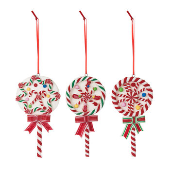 Stripe Lollipop Tree Decorations - Set of 3