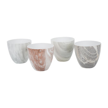 Light Marble Tealight Holders - Set of 4