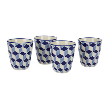 Cups - Set Of 4 - 3D  - Blue