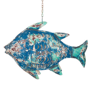 Hanging Fish Tealight Holder - Blue