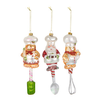 Christmas Chef Tree Decorations - Set of 3