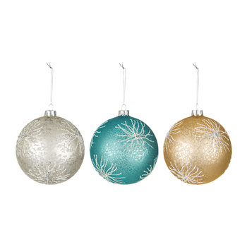 Glass Ball Tree Decorations - Set of 3