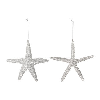 Silver Starfish Tree Decorations - Set of 2