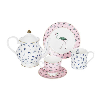 Alice Flamingo Chintz Teacup & Saucer - Pink