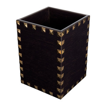 Magnus Mini Waste Bin - Carved Chestnut & Gold