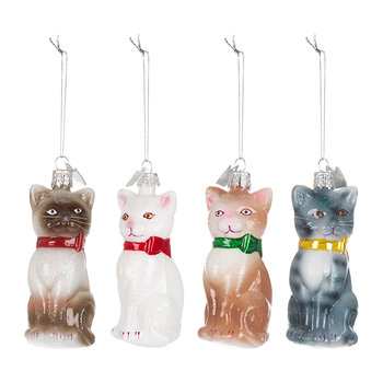 Noble Gems Cats Tree Decorations - Set of 4