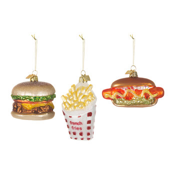 Noble Gems Fast Food Tree Decorations - Set of 3