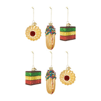 Noble Gems Mixed Biscuits Tree Decorations - Set of 6