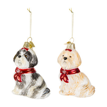 Noble Gems Shitzu Tree Decorations - Set of 2