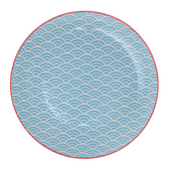 Starwave Dessert Plate - Small Wave - Aqua/Red