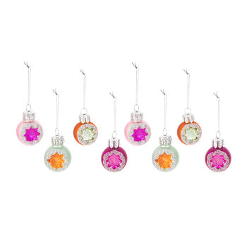 Multicolour Tree Decorations - Set of 8