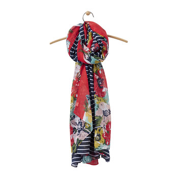 Harmony Oversized Scarf - French Navy Posy