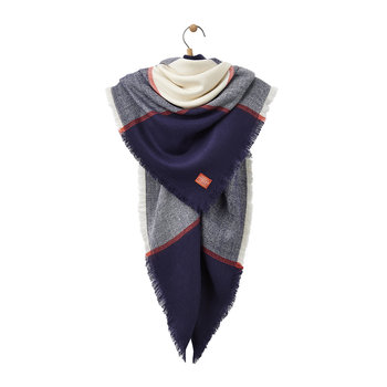 Heyford Oversized Scarf - French Navy Check