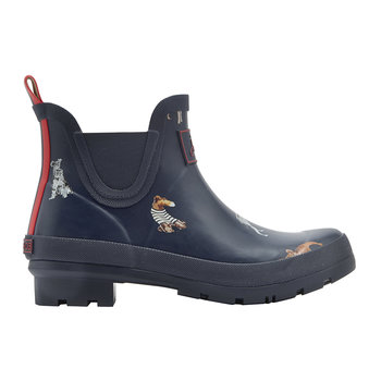 Women's Wellibob Short French Navy Dog Wellies