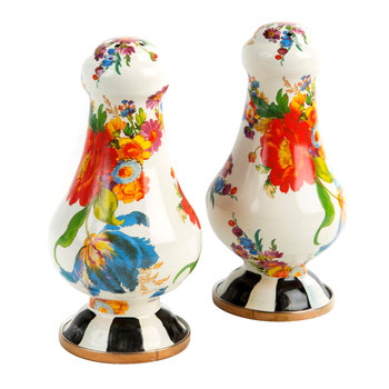 Flower Market Salt & Pepper Shakers - White