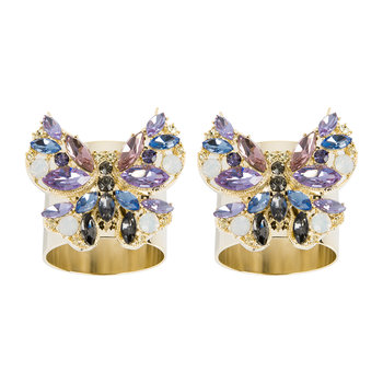 Jewelled Butterfly Napkin Ring - Set of 2 - Pink