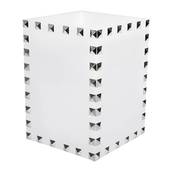 Magnus Mini Waste Bin - White & Silver