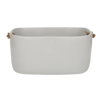 Storage Basket with Leather Handles - Cement