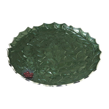 Holly Sprig Round Platter - Emerald