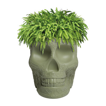 Mexico Skull Small Planter - Green