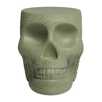 Mexico Skull Stool/Side Table - Green