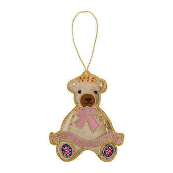 Baby's First Christmas Bear Tree Decoration - Pink