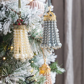 Pearl Tassel Christmas Tree Decoration - Cream