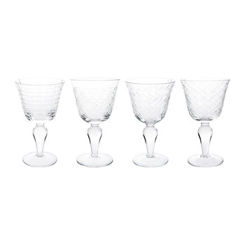 Clear Cuttings Wine Glasses - Set of 4