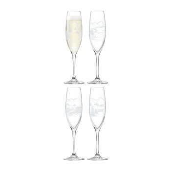 Alpine Champagne Flute - Set of 4 - Assorted