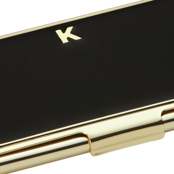 One in a Million Initial Business Card Holder - K (Black)
