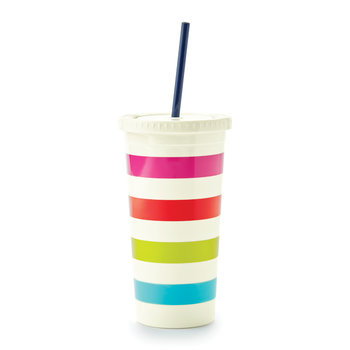 Plastic Tumbler with Straw - Candy Stripe
