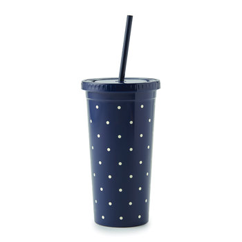 Plastic Tumbler with Straw - Larabee Dot Navy